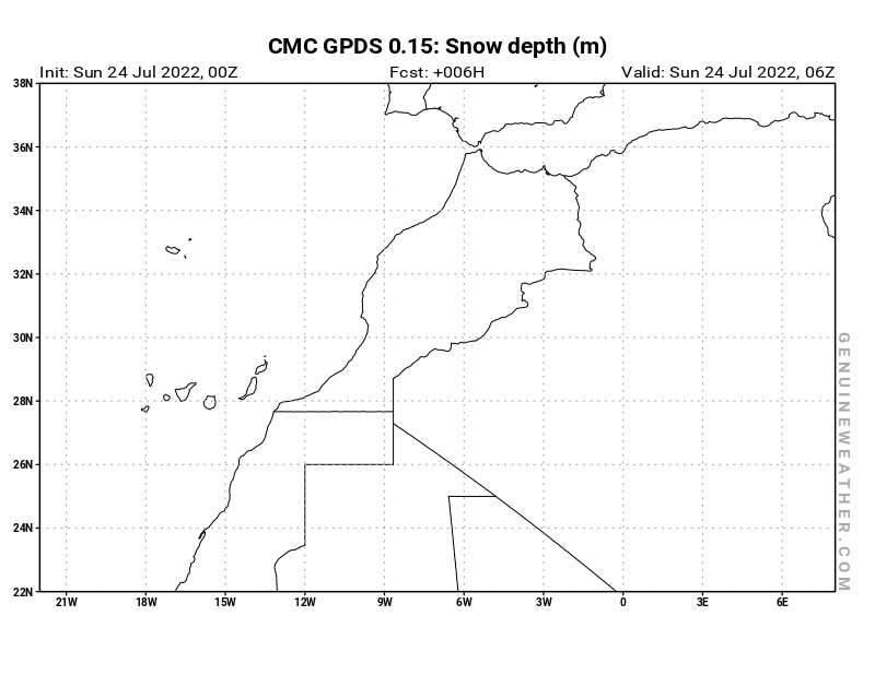 Morocco map with Snow Depth by CMC GDPS model