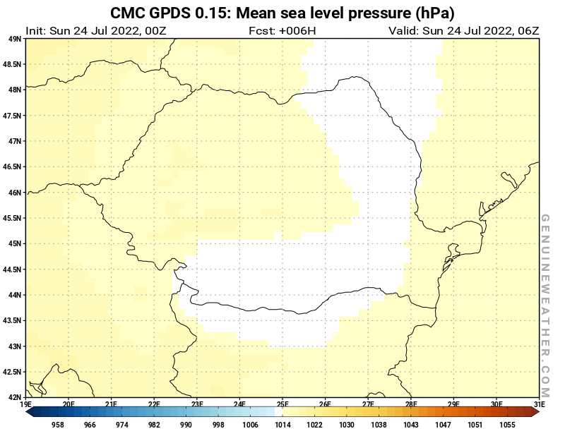 Romania map with Mean sea level pressure by CMC GDPS model