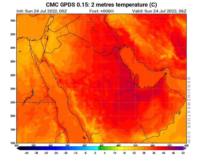 Saudi Arabia map with 2 metres temperature by CMC GDPS model