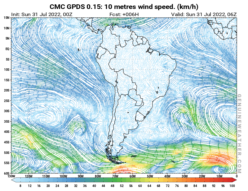 South America map with 10 metres wind speed by CMC GDPS model