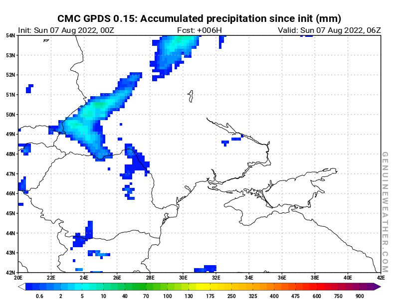 Ukraine map with Accumulated precipitation by CMC GDPS model