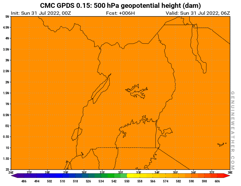 Uganda map with 500 hPa geopotential height by CMC GDPS model