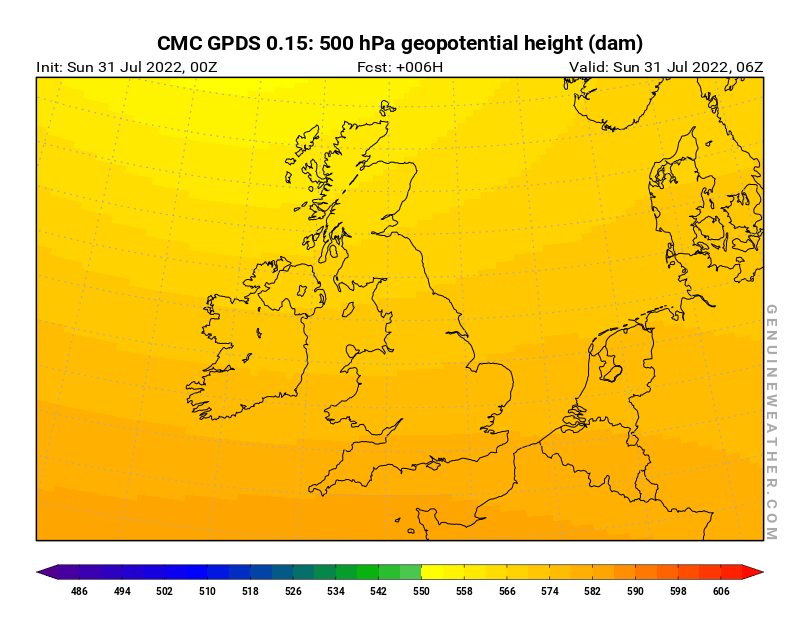 United Kingdom map with 500 hPa geopotential height by CMC GDPS model