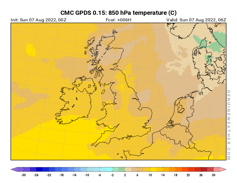 United Kingdom map with 850 hPa temperature by CMC GDPS model