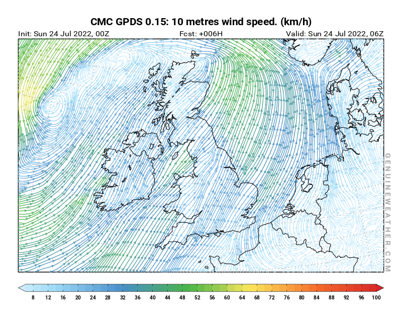 United Kingdom map with 10 metres wind speed by CMC GDPS model