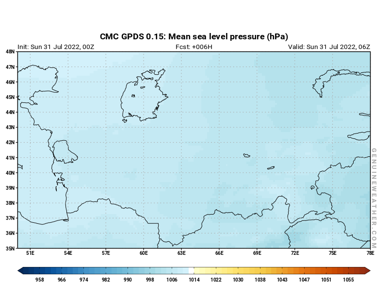 Uzbekistan map with Mean sea level pressure by CMC GDPS model