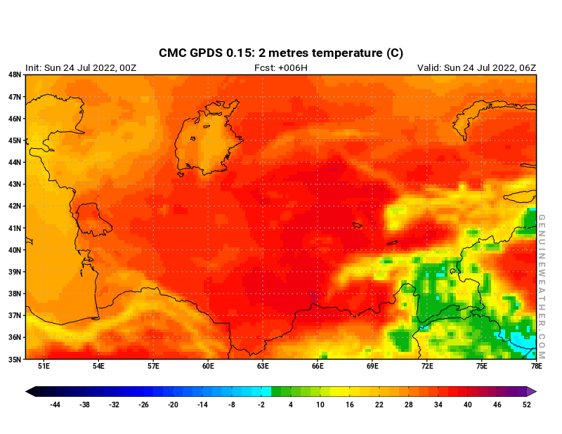 Uzbekistan map with 2 metres temperature by CMC GDPS model