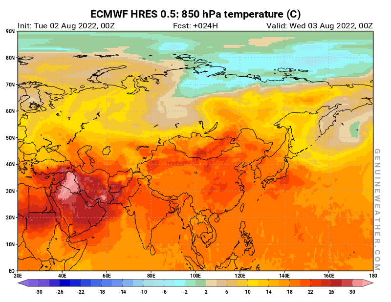 Asia map with 850 hPa temperature by ECMWF HRES model