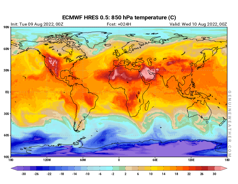 Global map with 850 hPa temperature by ECMWF HRES model