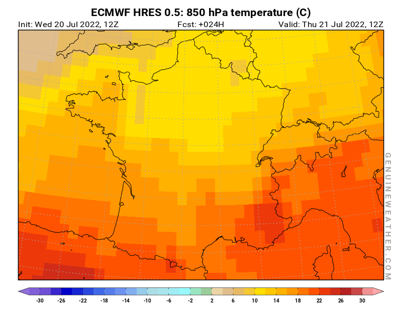 France map with 850 hPa temperature by ECMWF HRES model