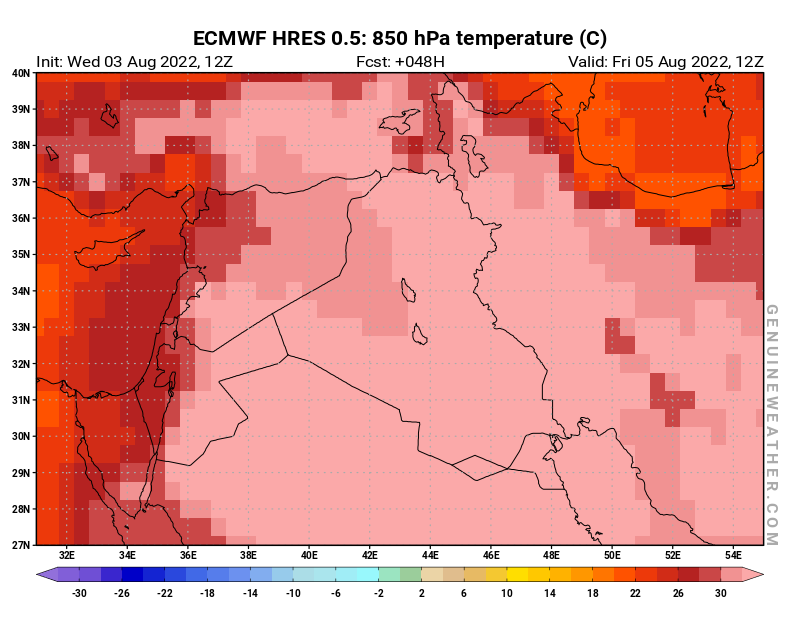 Next Iraq map with 850 hPa temperature by ECMWF HRES model