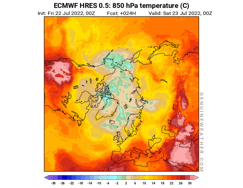Arctic map with 850 hPa temperature by ECMWF HRES model