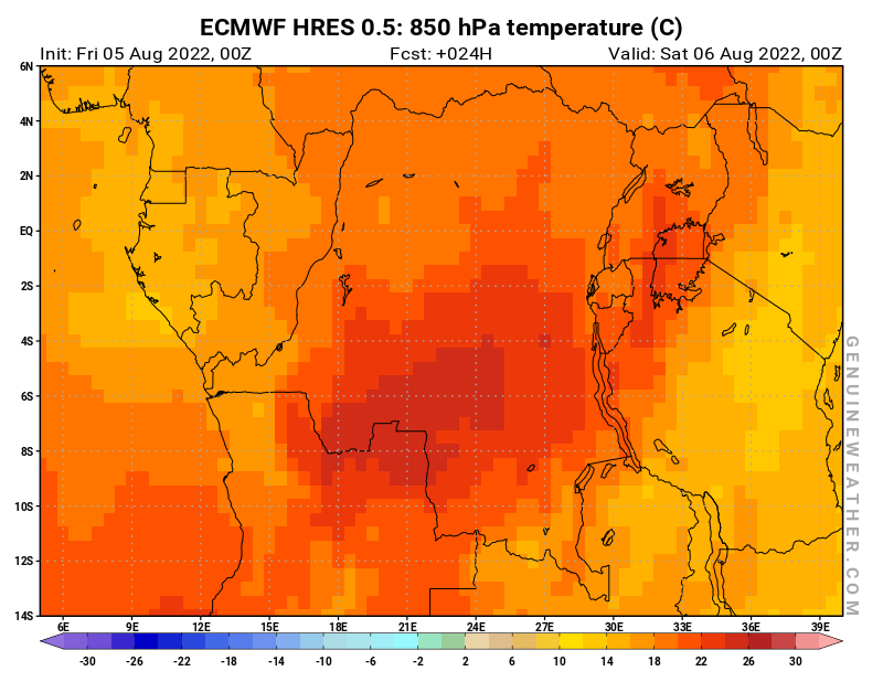 Democratic Republic of the Congo map with 850 hPa temperature by ECMWF HRES model