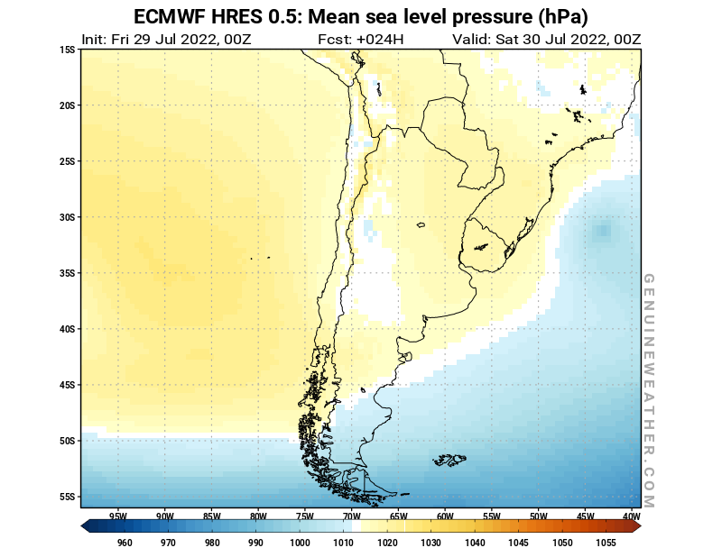 Chile map with Mean sea level pressure by ECMWF HRES model