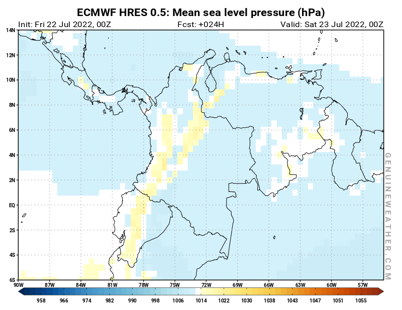 Colombia map with Mean sea level pressure by ECMWF HRES model