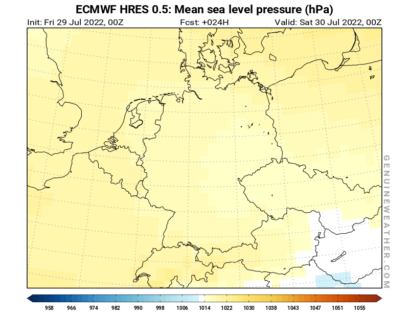 Germany map with Mean sea level pressure by ECMWF HRES model