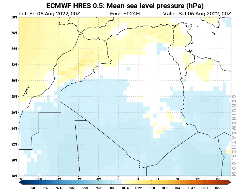 Algeria map with Mean sea level pressure by ECMWF HRES model