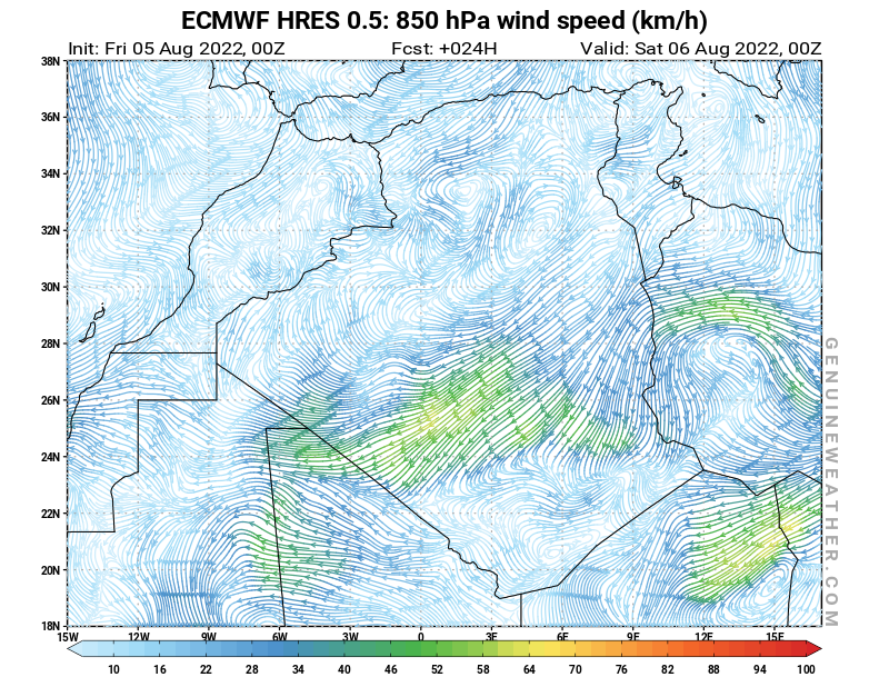 Algeria map with 850 hPa wind speed by ECMWF HRES model