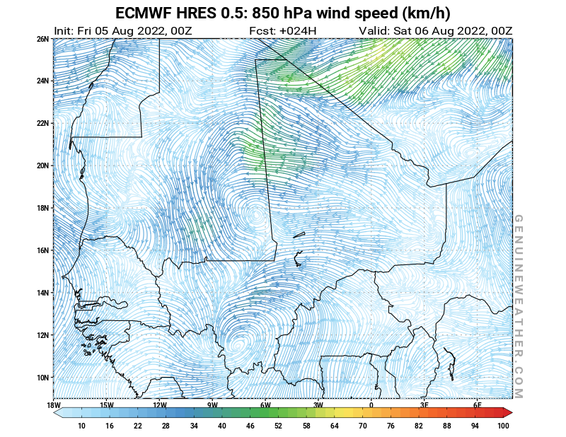 Mali map with 850 hPa wind speed by ECMWF HRES model