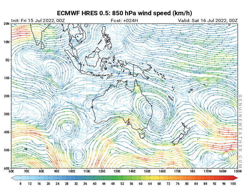 Oceania map with 850 hPa wind speed by ECMWF HRES model