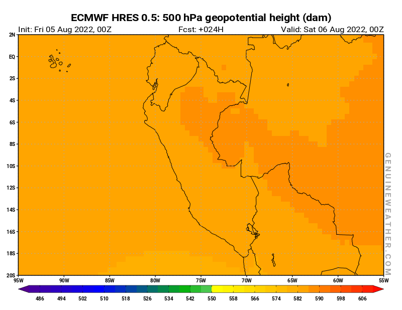 Peru map with 500 hPa geopotential height by ECMWF HRES model
