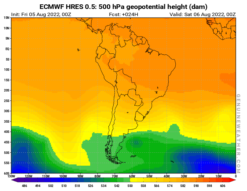 South America map with 500 hPa geopotential height by ECMWF HRES model