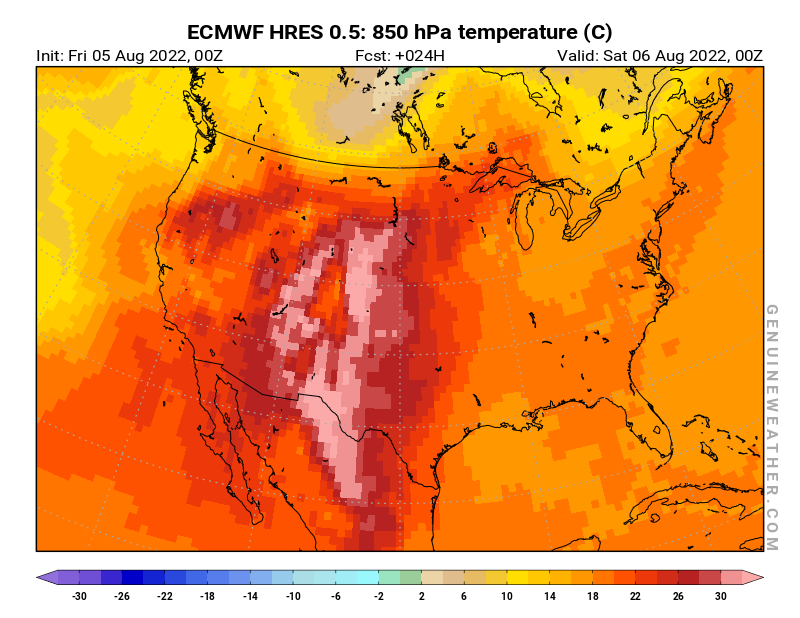 United States map with 850 hPa temperature by ECMWF HRES model