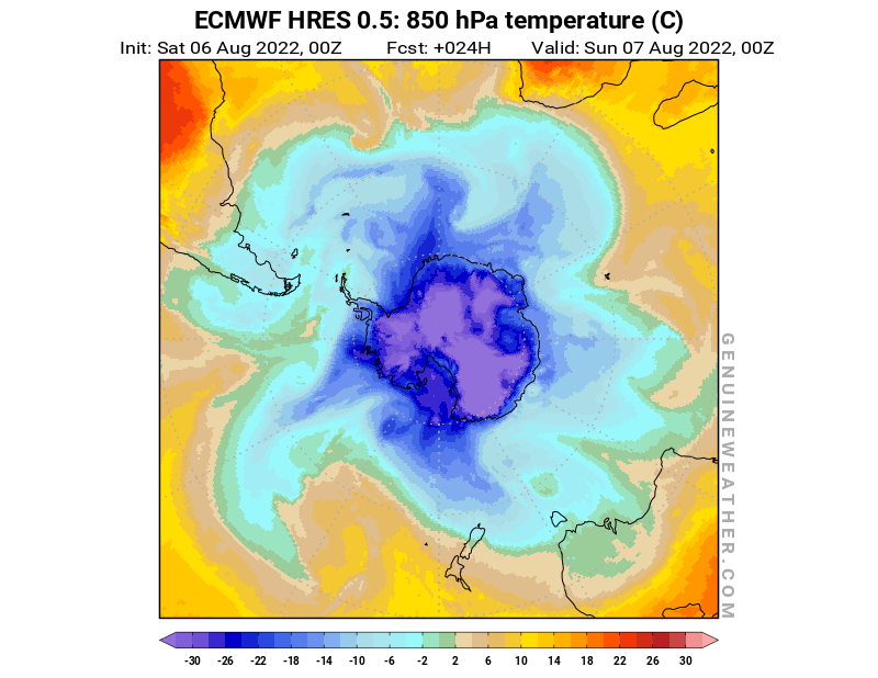 Antarctic map with 850 hPa temperature by ECMWF HRES model