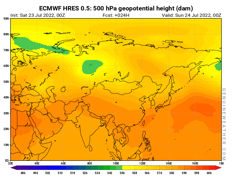 Asia map with 500 hPa geopotential height by ECMWF HRES model