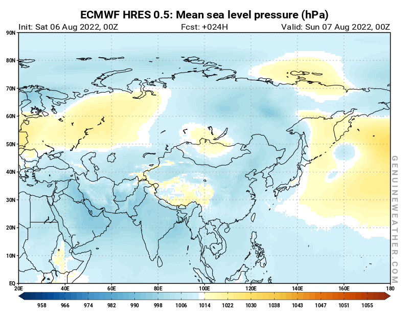 Asia map with Mean sea level pressure by ECMWF HRES model