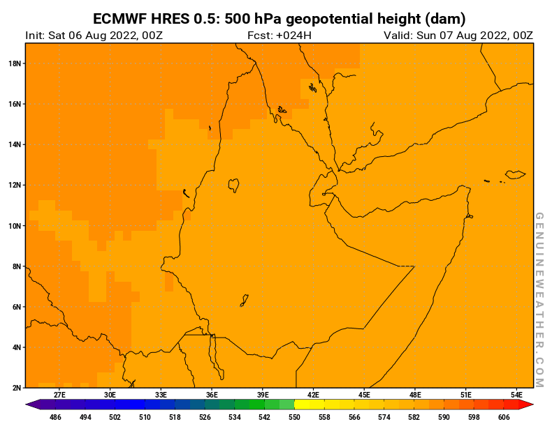 Ethiopia map with 500 hPa geopotential height by ECMWF HRES model