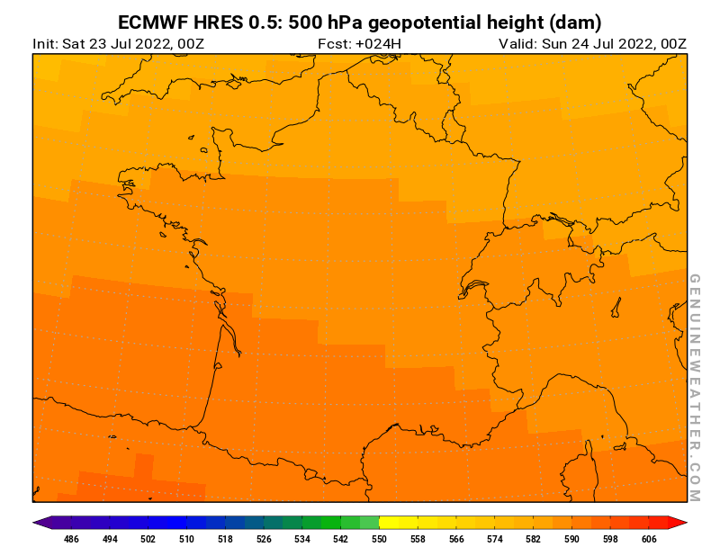 France map with 500 hPa geopotential height by ECMWF HRES model