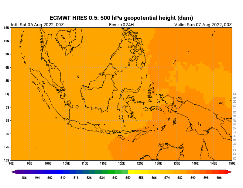 Indonesia map with 500 hPa geopotential height by ECMWF HRES model
