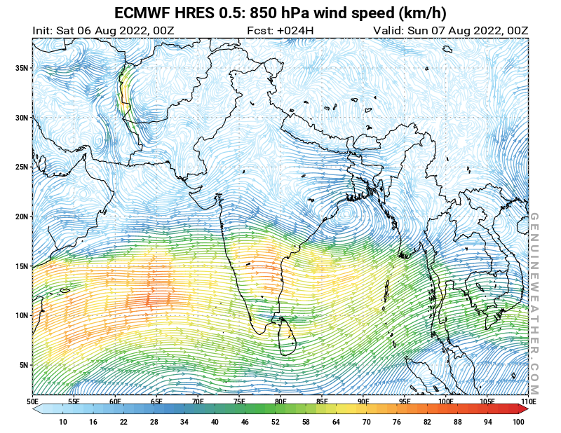 India map with 850 hPa wind speed by ECMWF HRES model