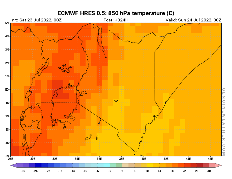 Kenya map with 850 hPa temperature by ECMWF HRES model