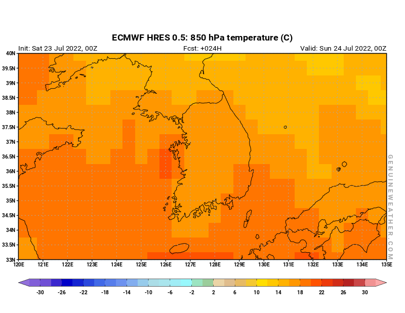 South Korea map with 850 hPa temperature by ECMWF HRES model