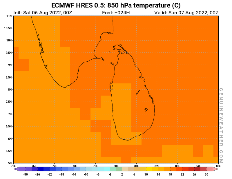 Sri Lanka map with 850 hPa temperature by ECMWF HRES model
