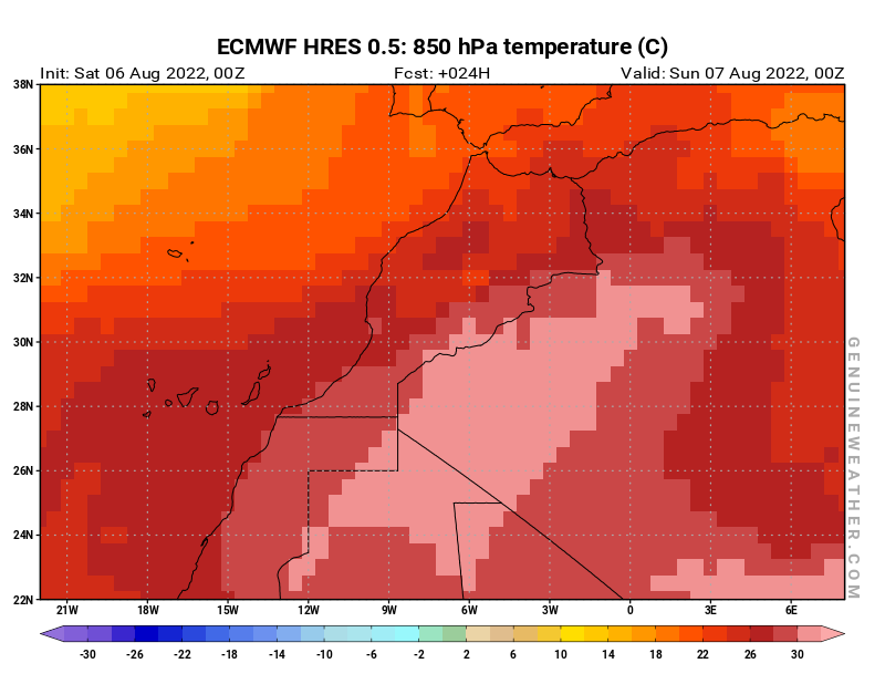 Morocco map with 850 hPa temperature by ECMWF HRES model