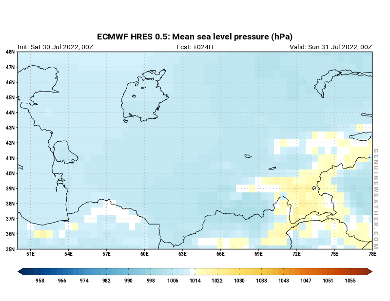 Uzbekistan map with Mean sea level pressure by ECMWF HRES model