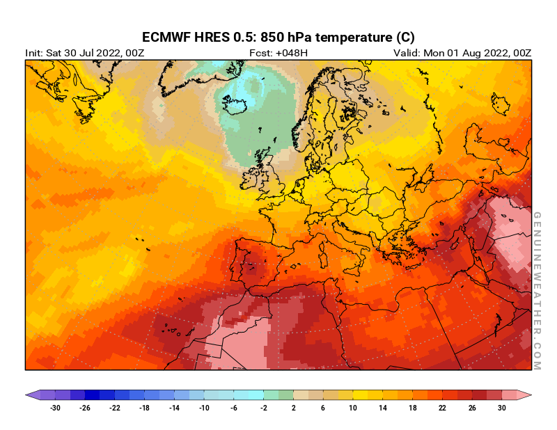 Next Europe map with 850 hPa temperature by ECMWF HRES model