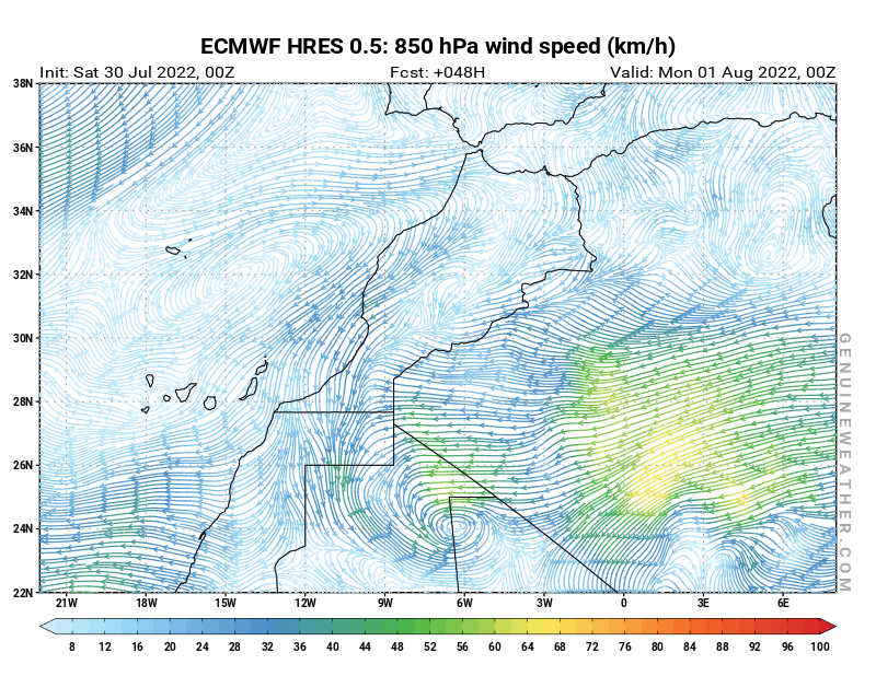 Next Morocco map with 850 hPa wind speed by ECMWF HRES model