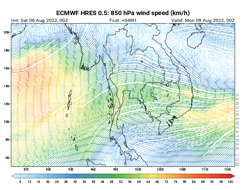 Next Thailand map with 850 hPa wind speed by ECMWF HRES model