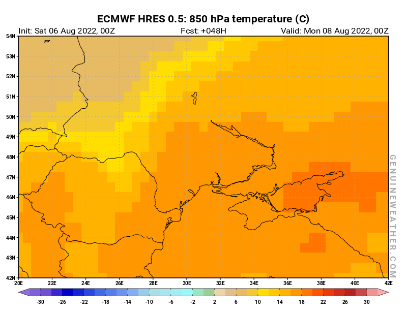 Next Ukraine map with 850 hPa temperature by ECMWF HRES model
