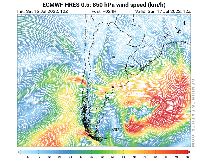 Argentina map with 850 hPa wind speed by ECMWF HRES model