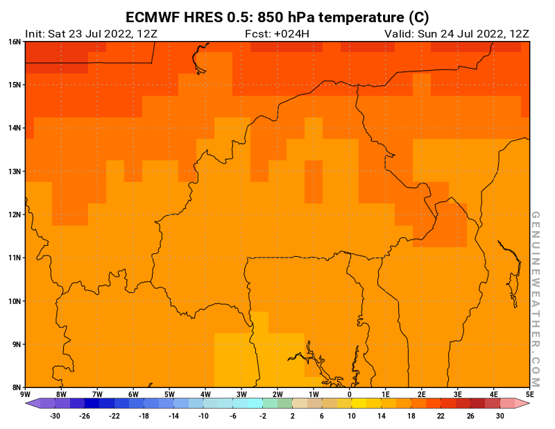 Burkina Faso map with 850 hPa temperature by ECMWF HRES model