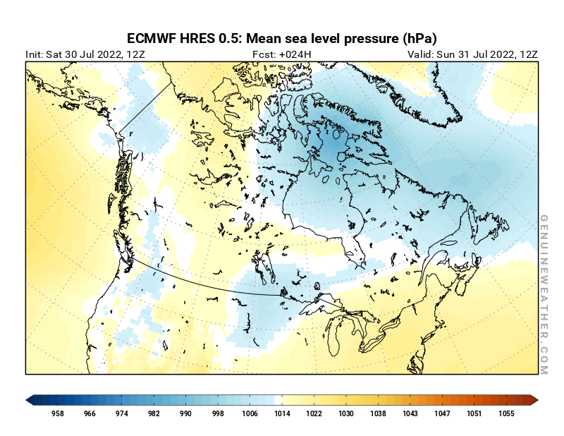 Canada map with Mean sea level pressure by ECMWF HRES model