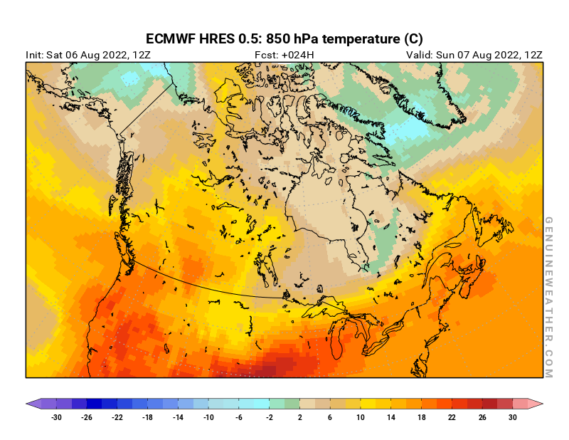 Canada map with 850 hPa temperature by ECMWF HRES model