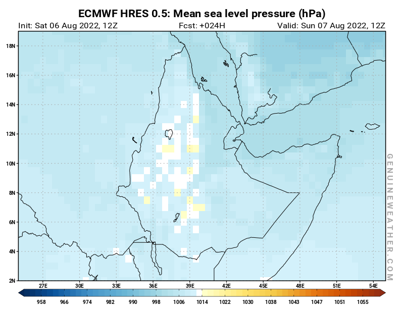 Ethiopia map with Mean sea level pressure by ECMWF HRES model
