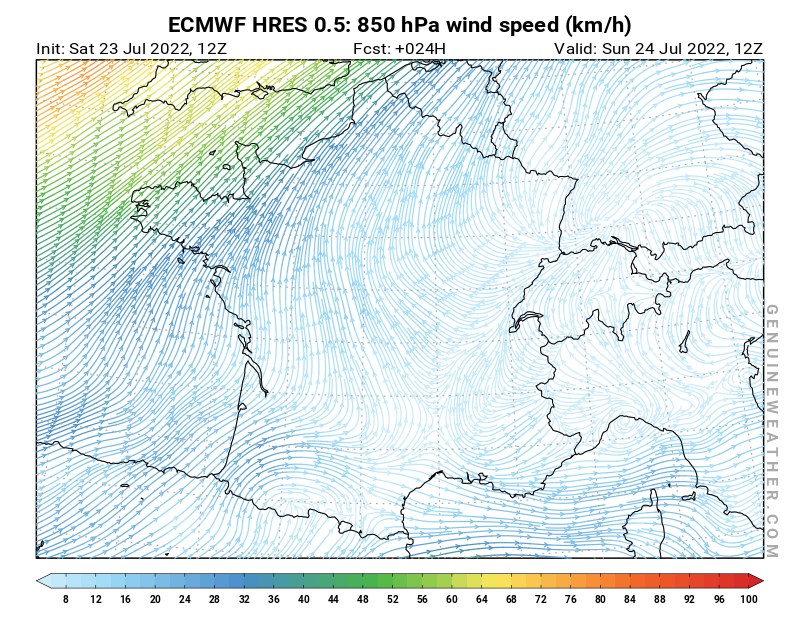 France map with 850 hPa wind speed by ECMWF HRES model