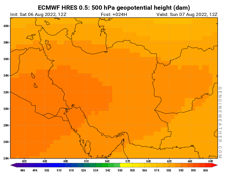 Islamic Republic of Iran map with 500 hPa geopotential height by ECMWF HRES model